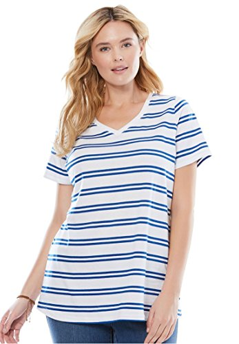 Twilight Womens V-neck - Women's Plus Size Perfect Printed V-Neck Top Twilight Blue Double Stripe,3X