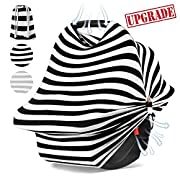 Carseat Canopy,Baby Car Seat Cover Nursing & Breastfeeding Cover,Shopping Cart,Stroller Canopy for Boys and Girls,Stretchy Soft,More Breathable Shawl by TuTuShop (Black)