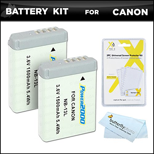 2 Pack Battery Bundle Kit for Canon PowerShot SX720 HS, Canon G7 X Mark II, G7 X, G9 X, G5 X Digital Camera Includes 2 Extended Replacement (1500Mah) NB-13L Batteries + LCD Screen Protectors + More -  ButterflyPhoto, AMAZ24163