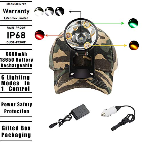 Cree LED Hunting Lights with Red & Green Hunting Light for Scanning Coons,Coyotes,Predators/Amber Light for Bowfishing/3 Powerful White Light for Night Outdoor Sports Premium Hunting ()