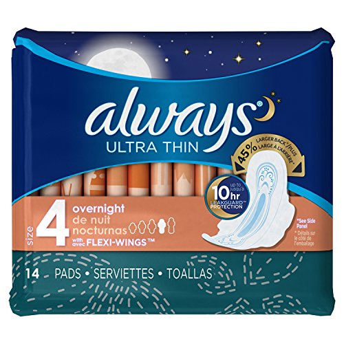 Always Ultra Thin Pads, Overnight 14 ea (Pack of 4)