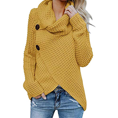 Womens Sweater, Duseedik Women's Turtleneck Chunky Wrap Knit Pullover Sweater Coat with Button Details (Yellow, US:4/CN:S) (Silk Cream Blazer)