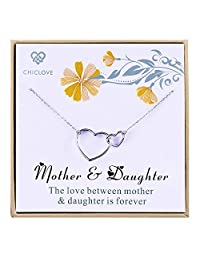 CHICLOVE Gift for mom - Mother and Daughter Necklace with 925 Sterling Silver Interlocking Hearts