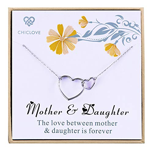 CHICLOVE Gift for mom - Mother and Daughter Necklace with 925 Sterling Silver Interlocking Hearts, Best