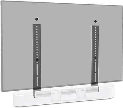 Mounting Dream - Soporte de Barra de Sonido Especial para Sonos Beam, para televisores VESA hasta 600 x 400 mm, con Bloque Deslizante, Montaje en TV, Soporte de TV MD5426-W-03, Color Blanco: