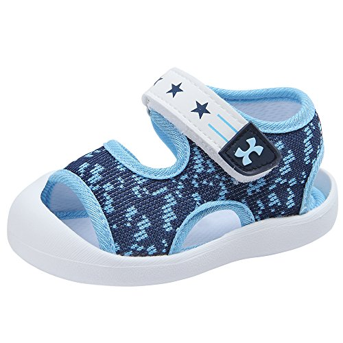 (Baby Summer Sandals Breathable Mesh Rubber Sole Non-Slip Outdoor Shoes for Boys and Girls 9-30 Months (4 M US Toddler, Blue))
