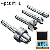 Pukido 4pcs MT1 Wood Lathe Live Center And Drive Spur Cup MT1 Arbor with Wooden Case