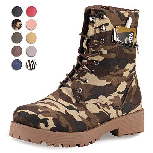 CINAK Military Combat Boots for Women- Winter Autumn Comfort Outdoor Waterproof Martin Booties Mid-Calf Shoes (8-8.5B(M)US/CN40/9.84'', Camouflage) ()