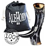 """AleHorn – The Original Handcrafted Authentic Viking Drinking Horn - 12"""" Polished - for Beer, Mead, Ale – Medieval Inspired – Food Safe Vessel - Curved Style with Stand …"""
