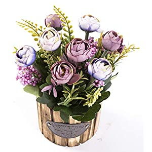 LODESTAR Artificial Flower in Beautiful Pot Mini Fake Floral Bouquet Indoor Outdoor Home Office Wedding Decoration 7