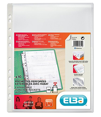 Placemat Purse - Elba 100207008 Document Wallets Cover Flap A4 Open Top Flexible 100 Pages Polypropylene 0.2 mm Transparent (Pack of 10)