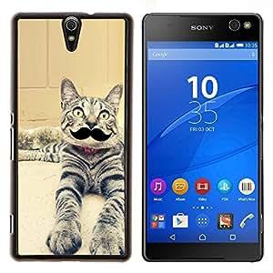 EJOOY---Cubierta de la caja de protección para la piel dura ** Sony Xperia C5 Ultra ** --Gato egipcio de Mau Serengeti bigote