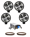 HIGH PRESSURE 1000psi - 18'' 4 Fan Wall Mount Mist Kits w/ enclosed pump