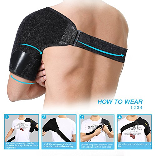 Dislocated Shoulder Brace for Left and Right Size Fits Men and Women, Rotator Cuff Support Adjustable with Mesh Bag for Hot Cold Therapy Shoulder Wrap for Tear Injury AC Joint Dislocated Recovery by wohuu (Image #6)