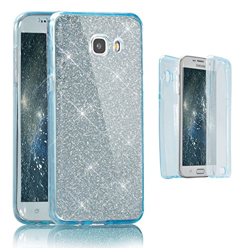 Funda Doble para Samsung Galaxy A3 2016, Vandot Bling Brillo Carcasa Protectora 360 Grados Full Body   TPU en Transparente Ultra Slim Case Cover   Protección Completa Delantera y Trasera Cocha Smartph Bling Blue