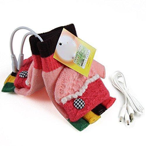 Dealpeak Cold Weather Winter Wool Knit Gloves USB Heated Warmer Gloves for Women Men Best Winter Gift Choice (GS51)