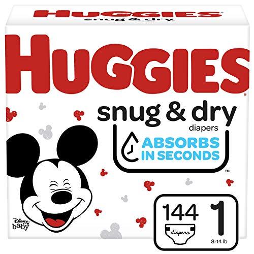 Huggies Snug & Dry Baby Diapers, Size 1, 144 Ct
