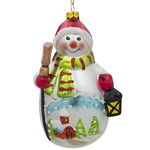 (BestPysanky Snowman with Broom and Lantern Glass Christmas Ornament 4.75 Inches)