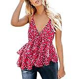 2019 Womens V-Neck Sleeveless Bind Ruffles Shirt Blouse Casual Tank Tops S-XL (S) Red