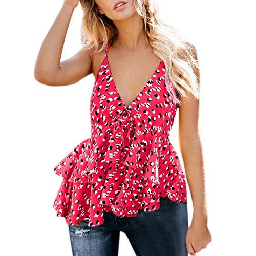 d480b30e iSkylie Clrarance!!! Women's Boho Camisole Blouse Floral Ruffles V ...