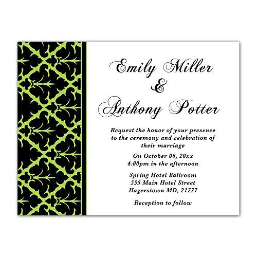 (100 Wedding Invitations Green Black White Damask Design + Envelopes)