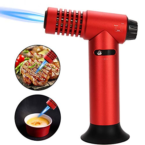 - Butane Torch, Keiyaloe Cooking Torch Lighter, Adjustable Flame(MAX 2500°F) and Butane Refillable, Blow Torch with Safety Lock, Culinary Torch for Cooking, Baking, BBQ - Red