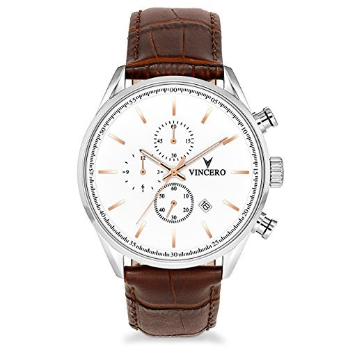 Vincero The Chrono S Dial Leather Strap Men's Watch WHI-SIL-S08