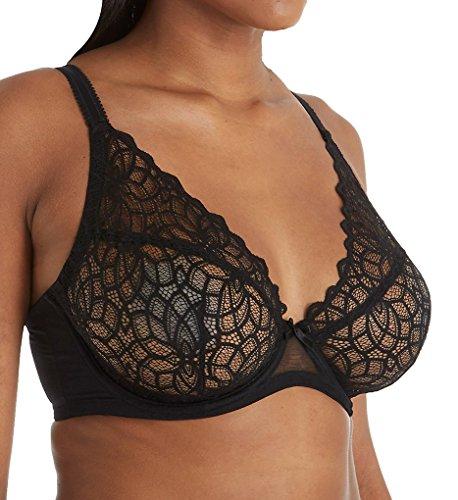 Glamorise Women's Plus-Size Full Figure Sexy Stretch Lace Wonderwire Bra #9850 Bra, Black, 40DD