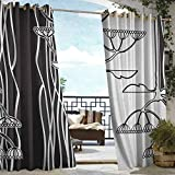 Andrea Sam Outdoor Balcony Privacy Curtain Black and White,Abstract Fennel Plants with Seeds Monochrome Garden Condiment Ornament, Black White,W72 xL96 Outdoor Patio Curtains Waterproof with Grommets