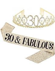 "Flunyina""30 Fabulous"" 30th Birthday Set for Women Gold Gillter Tiara Birthday Sash Glitter Gold Crown and Birthday Gifts Glitter Birthday Sash for Birthday Party Favors"