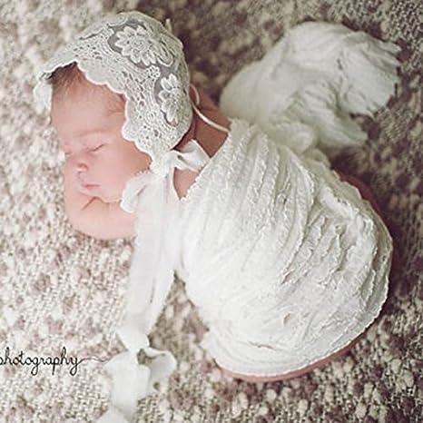 Pixnor Newborn Baby Girl Lace Silk Ribbon Adjustable Cap Photography Hat Cute Sun Hats Lace cap White