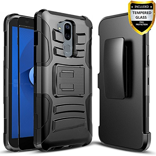 T-Mobile Revvl 2 Plus Case, Alcatel 7 Phone Case, Alcatel 7 Folio Case, With [Full Cover Tempered Glass Screen Protector] Circlemalls Built-In Kickstand Cover Heavy Duty Belt Clip And Stylus Pen-Black