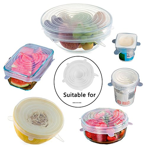 DC-BEAUTIFUL Silicone Stretch Lids,6 Pack Multi-Size Containers Covers,Fresh Reusable And Durable Food Cover (Write)
