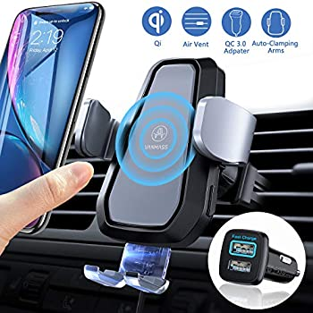 Wireless Car Charger Samsung Galaxy S10//S10+//S9//S9+//Note 9 Wonsidary Automatic Clamping Car Charger Mount 10W//7.5 W Fast Charging Qi Cell Phone Holder Compatible with iPhone X//Xs Max//Xs//XR//8//8 Plus