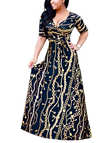 Akmipoem Women's Chain Print Faux Wrap V Neck Half Sleeve Self Tie Boho Maxi Long Dress