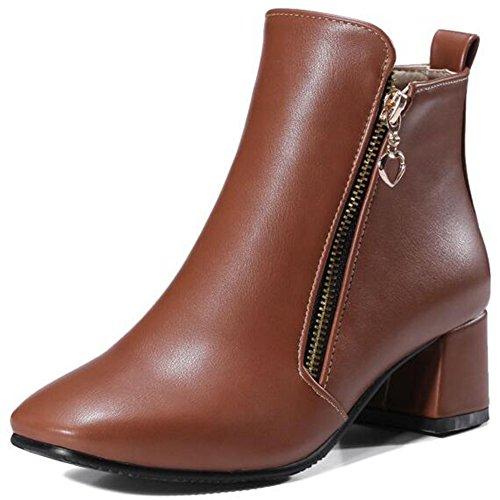 Boots Brown Square Chunky Ankle Side Heels Women's Toe Retro Short IDIFU Zipper Mid Booties EOA4qR8xqw