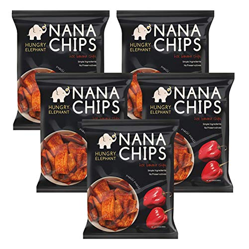 Nana Chips Organic Plantain Chips - Hot Snacks (5 Pack) | Vegan, Gluten-Free, High Potassium, All Natural Ingredients | Healthy Alternative for Potato Chips | 4.9 Oz. Bags | by Hungry Elephant
