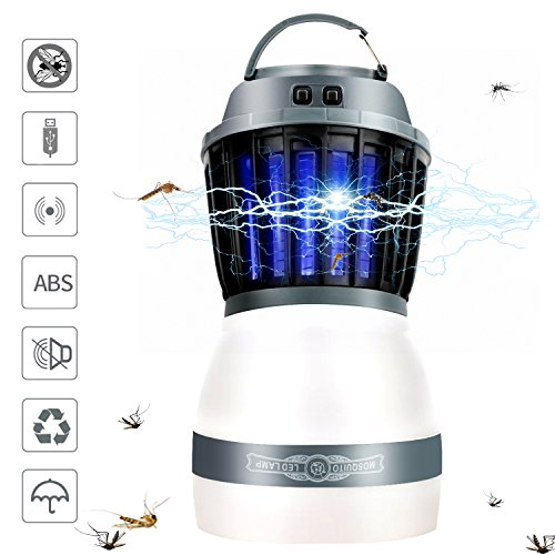 Mosquito Repellent Lamp (Fxexblin Bug Zapper & Camping Lantern, Mosquito Repellent Killer With LED Night Lamp, IPX67 Waterptoof, 2200mAh Rechargeable Via USB For Indoor Outdoors Home Traveling & Emergencies)