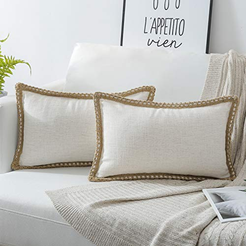 (Phantoscope Pack of 2 Farmhouse Burlap Linen Trimmed Tailored Edges Throw Pillow Case Cushion Covers Off-White 12 x 20 inches 30 x 50 cm)