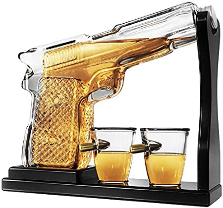 Krown Kitchen - Gun Whiskey Decanter Set. Includes Whiskey Glasses, Coasters, and Wood Base Dad Gifts. For Bourbon, Scotch, Liquor, etc.