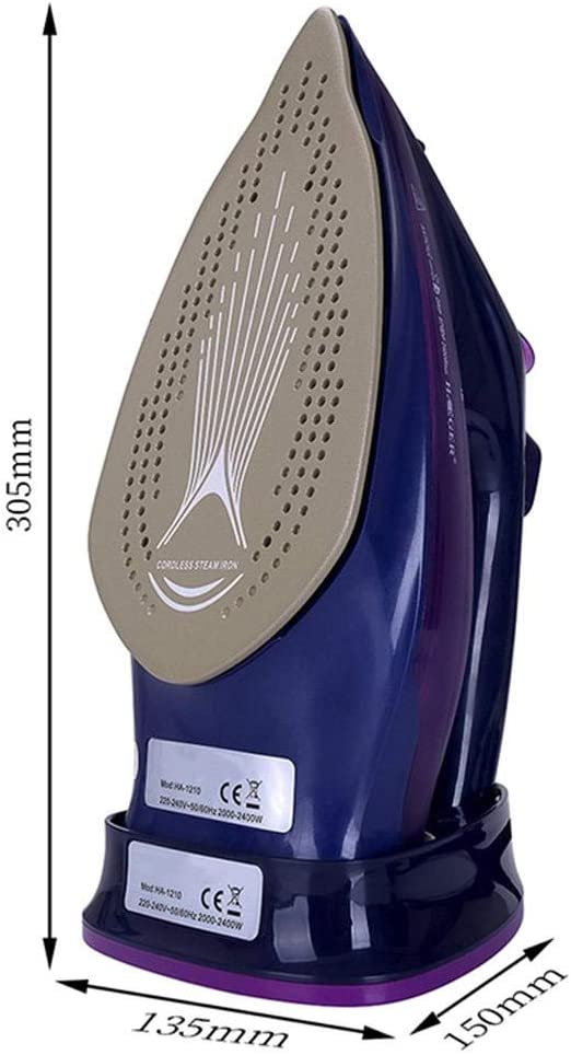 ZHB 2400W Steam Iron, 5 Speed Adjust Cordless Wireless Charging Portable Clothes Ironing Steamer Portable Ceramic Bottom Plate Iron-green Purple