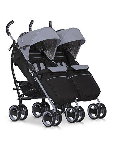 Kinderwagen Duo Comfort GRAU-FOX für Geschwister / Zwillinge - Spazierwagen - Buggy aus Aluminium - neues Modell 2016 easyGo