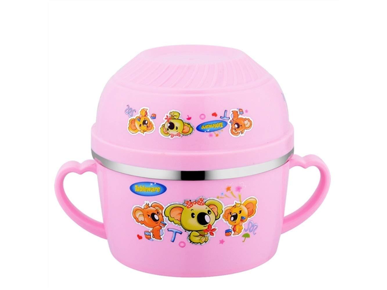 FERFERFERWON Baby Tischset Baby Futternapf Doppel Lunchbox Verbrühschutz Edelstahl Kinderschale Isolierung Schüssel für Kinder Studenten (Rosa) Kleinkind Kinder