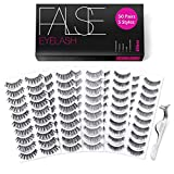 Eliace 50 Pairs 5 Styles Wispies Fake Lashes with Tweezers