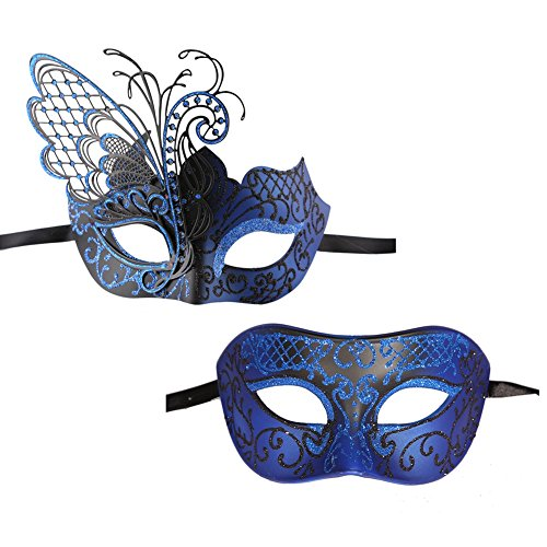 Xvevina One Pair Halloween Masquerade Mask for Couples Glitter Butterfly Decoration Blue Black