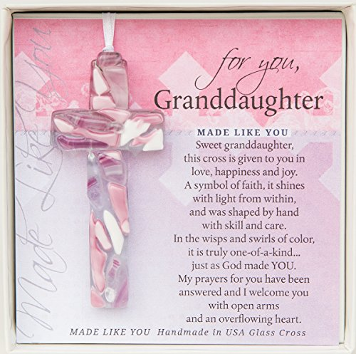 For You, Handmade Mosaic Glass Cross With Loving Sentiments Perfect Christian Gift For Granddaughter ()