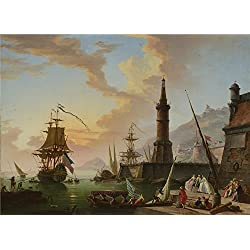 Oil Painting 'Claude-Joseph Vernet - A Seaport,later 18th Century', 10 x 14 inch / 25 x 35 cm , on High Definition HD canvas prints is for Gifts And Bar, Basement And Nursery Decoration