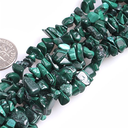 (JOE FOREMAN 7-8mm Malachite Semi Precious Gemstone Chips Loose Beads for Jewelry Making DIY Handmade Craft Supplies 34