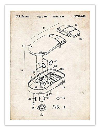 1998 Microsoft Computer IBM PC Mouse Invention 18x24 Patent Poster (Parchment)