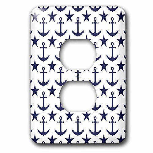3dRose Navy Blue and White Anchor and Nautical Star Pattern,